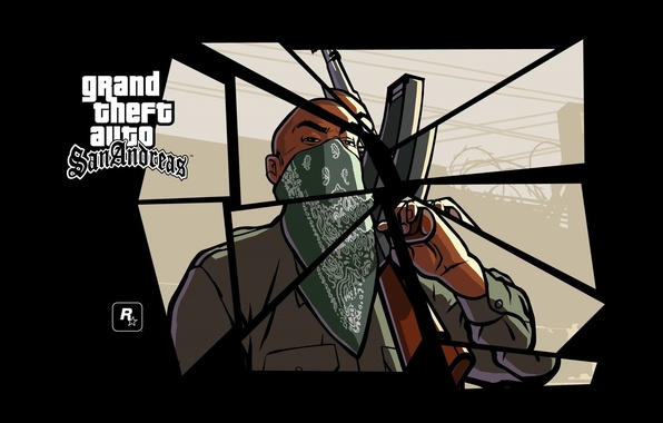 Wallpaper Gun Logo GTA AK 47 Game Weapon Man Rockstar Games Mob Gangster Grand Theft Auto San Andreas Images For Desktop Section