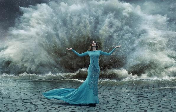 Picture water, girl, drops, squirt, storm, dress, peacock, gesture, bridge