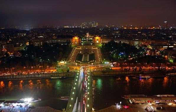 Picture trees, night, bridge, lights, Park, river, Paris, home, fountain, France, panorama.