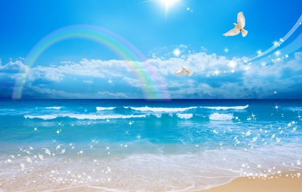 Picture sand, sea, wave, the sky, the sun, clouds, flight, landscape, bubbles, shore, beauty, rainbow, white …