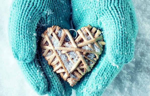 Picture winter, snow, love, heart, hands, love, heart, winter, mittens, snow, hands