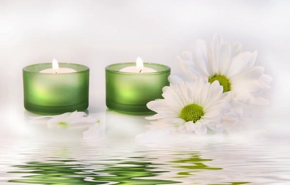 Picture water, flowers, candles, water, flowers, candles, white chrysanthemums, white chrysanthemum
