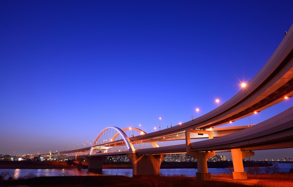 Picture the sky, night, bridge, lights, Japan, lights, Bay, blue, Yokohama