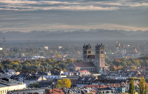 Picture trees, landscape, mountains, watch, home, Germany, tower, Munich