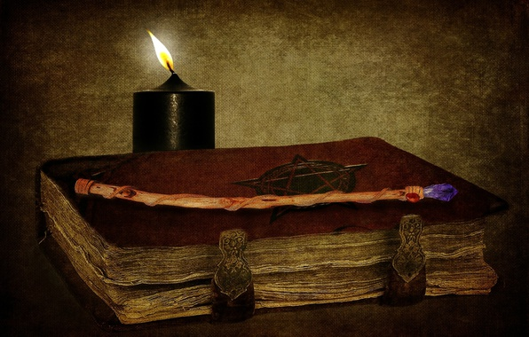 Picture magic, candle, book, wand, witchcraft, the occult