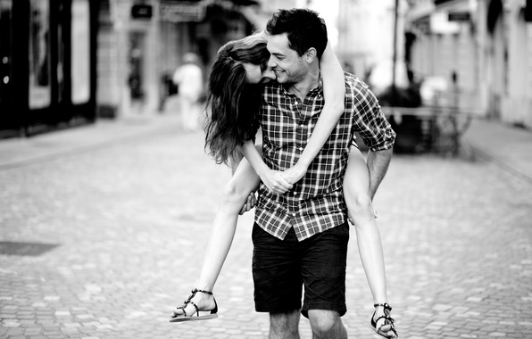 Picture girl, love, joy, happiness, smile, background, situation, black and white, street, romance, feelings, laughter, pair, …