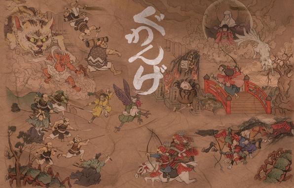 Picture bridge, paper, weapons, background, people, figure, horses, spirit, characters, battle, painting, demons, samurai