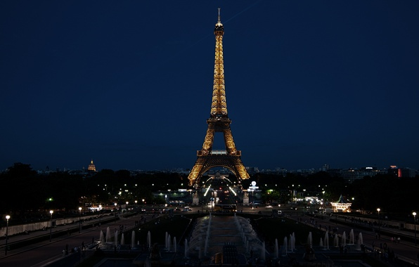 Picture night, the city, lights, France, Paris, Eiffel tower