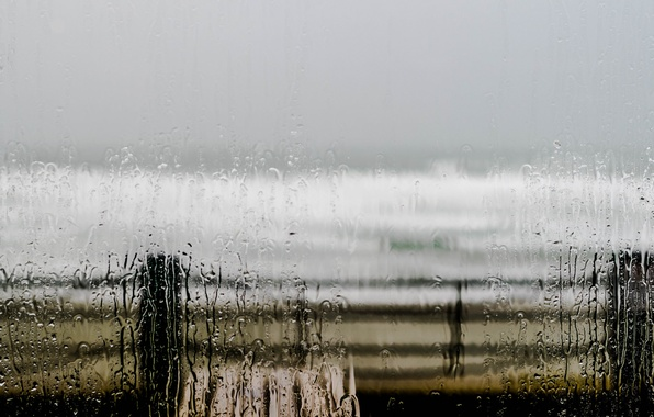 Picture sea, wave, beach, the sky, glass, water, rain, the fence, Windows, gray clouds