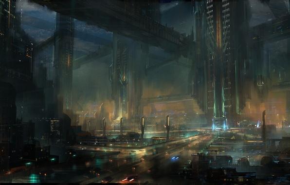 Picture night, the city, lights, future, art, megapolis