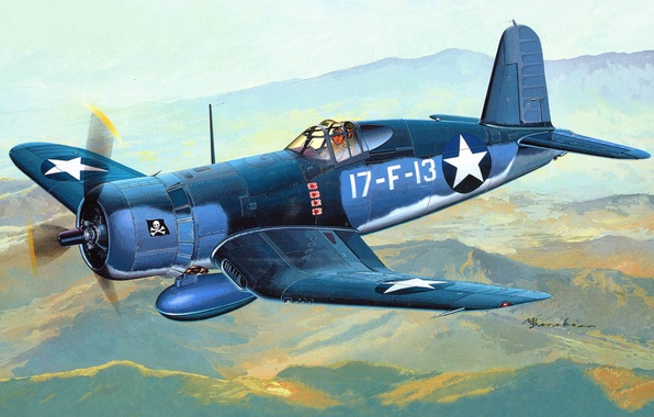 Picture the plane, fighter, art, USA, sea, corsairs, Navy, deck, WW2., infantry, 1943, battle, memorial, F4U, …