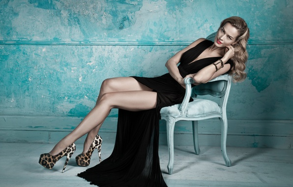 Picture look, pose, body, Girl, dress, blonde, chair, legs