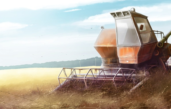 Picture field, nature, tractor, harvester, Niva