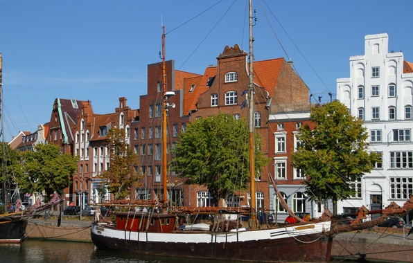 Picture building, sailboat, Germany, Lubeck, promenade, Germany, galeas, Lübeck