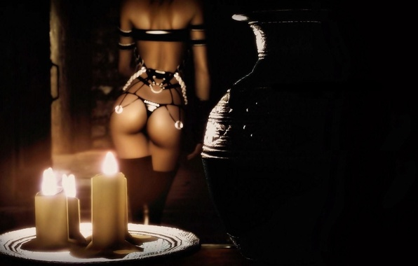 Picture ass, girl, back, candles, The Elder Scrolls V: Skyrim