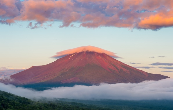 Picture summer, the sky, clouds, mountain, morning, Japan, sunrise, Fuji, August, stratovolcano, Mount Fuji, the island ...
