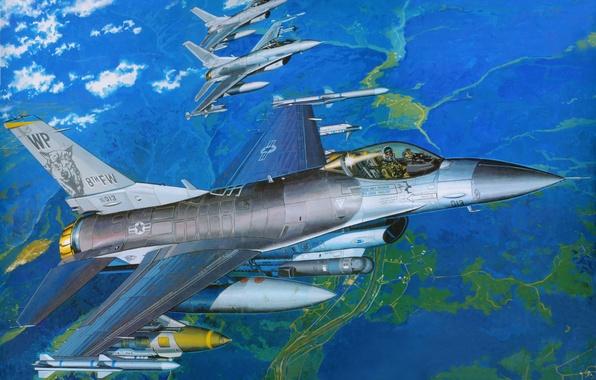 Picture aviation, fighter, art, the plane, BBC, F-16, f-16