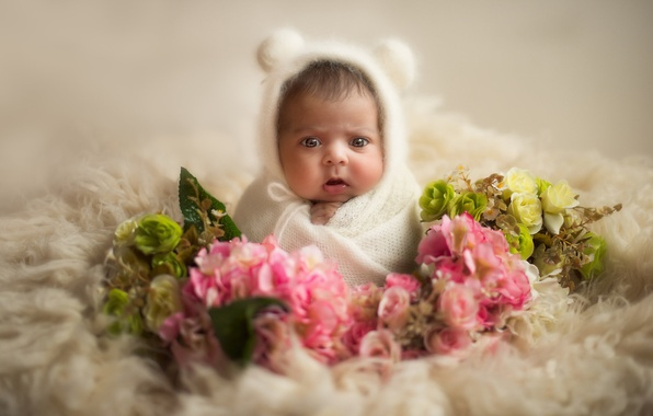 Picture flowers, scarf, baby, fur, shawl, ears, child, cap, baby