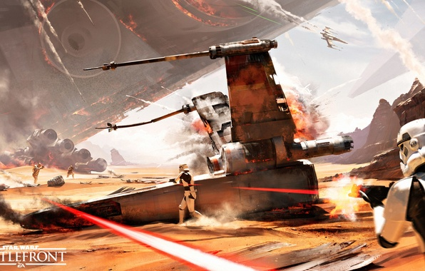 Picture the sky, rays, the explosion, desert, smoke, ship, battle, logo, helmet, armor, logo, stormtroopers, Electronic …