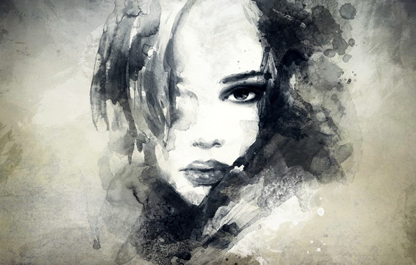 Picture look, girl, face, portrait, art, lips, painting