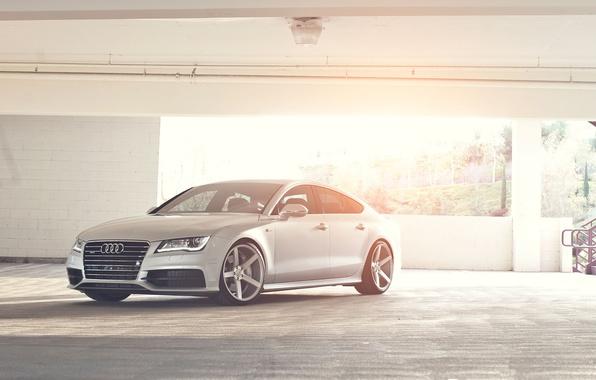 Picture Audi, Audi, silver, Parking, Blik, quattro, silvery, Sportback, TFSI, 3.0