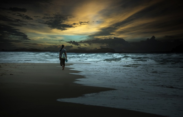 Picture sea, girl, night