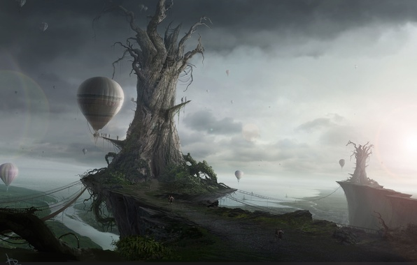 Picture sadness, the sky, Islands, trees, landscape, balloons, fantasy, the world, Fantasy, ballooning, evacuation
