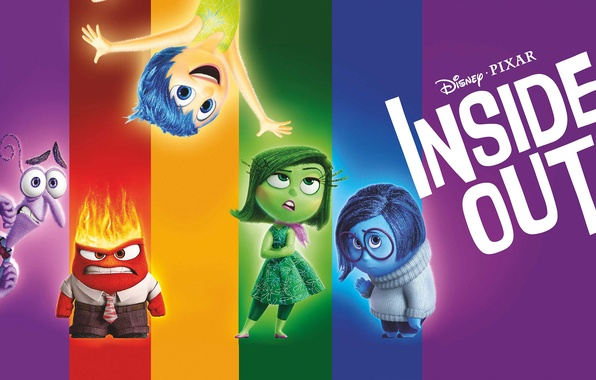 Picture purple, color, blue, yellow, red, green, emotions, cartoon, Disney, Fear, Pixar, Puzzle, poster, characters, Joy, ...