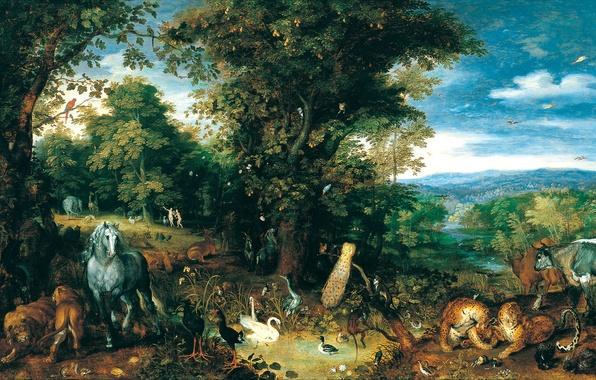 Picture animals, Paradise, picture, mythology, Jan Brueghel The Elder, The Garden Of Eden