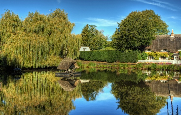Picture water, the city, pond, photo, England, Crawley Winchester