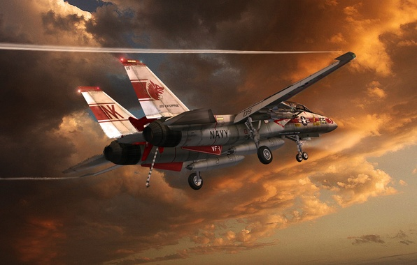 Picture the sky, clouds, a condensation trail, flight, the plane, f-14, Tomcat