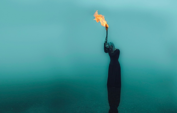 Picture girl, torch, in the water, Kindra Nikole, forsaken flame