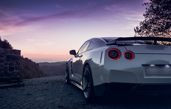 Picture GTR, Moon, Nissan, Sky, Lights, White, R35, Spoiler, Rear, Nigth