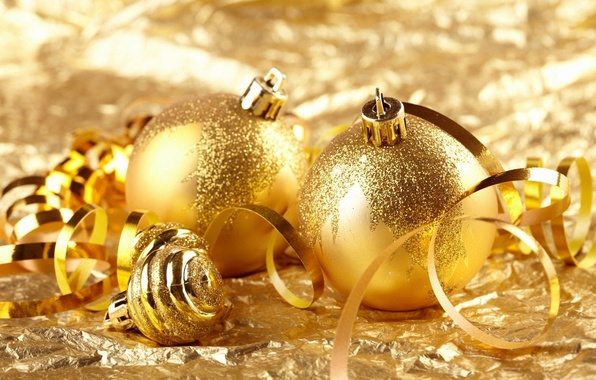 Picture balls, decoration, gold, holiday, Wallpaper, toys, Shine, Christmas, serpentine
