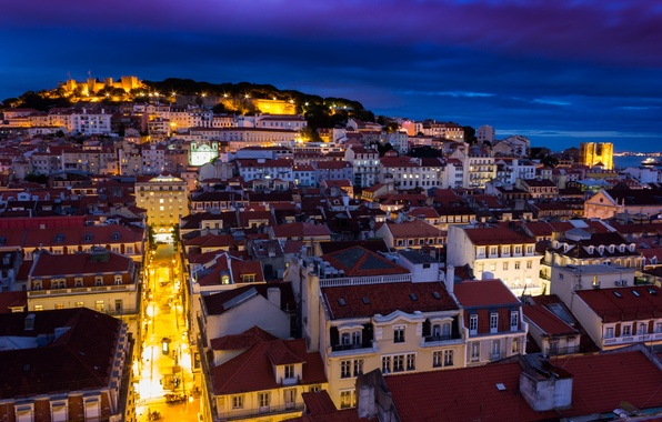 Picture the sky, night, lights, building, home, backlight, fortress, Portugal, architecture, blue, capital, Lisbon