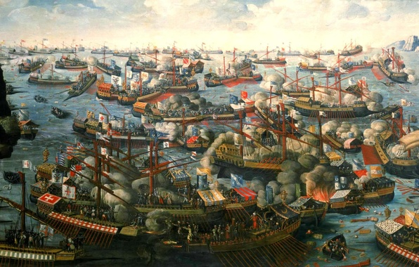 """Picture oil, picture, canvas, naval battle, Cape Scrofa, The Gulf of Patras, 7 Oct 1571, """"Battle …"""