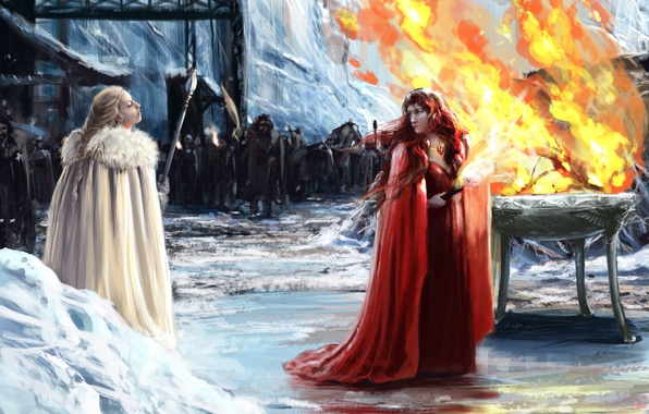 Picture girls, fire, army, torch, cloak, Game of thrones, Melisandre, Princess Val