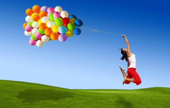 Picture the sky, grass, color, girl, balls, flight, joy, smile, jump, balls, colorful, a lot