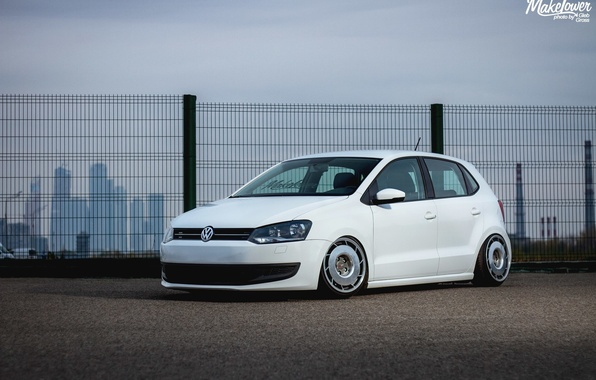 Picture volkswagen, white, wheels, tuning, polo, germany, low, stance, Polo, dapper