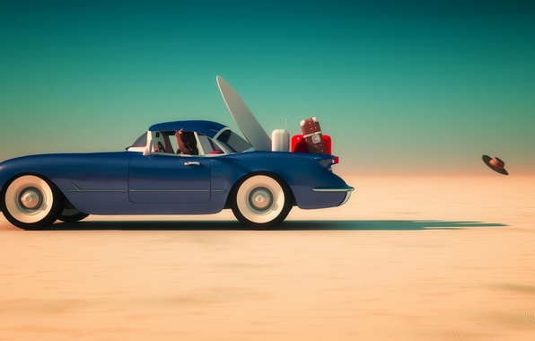 Photo wallpaper sand, the sky, the sun, blue, desert, the ball, speed, hat, horizon, car, Luggage, suitcases