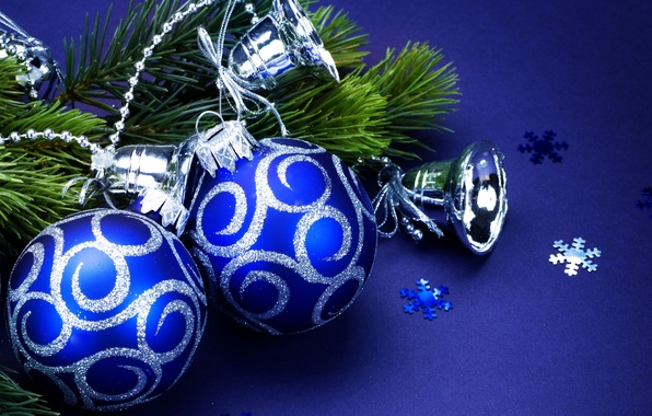 Picture snowflakes, balls, toys, tree, branch, sequins, New Year, Christmas, bells, Christmas, blue, blue background, New …
