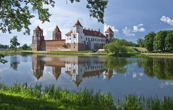 Picture water, pond, reflection, Belarus, Mir castle, Mirsky Castle Complex, Grodno region