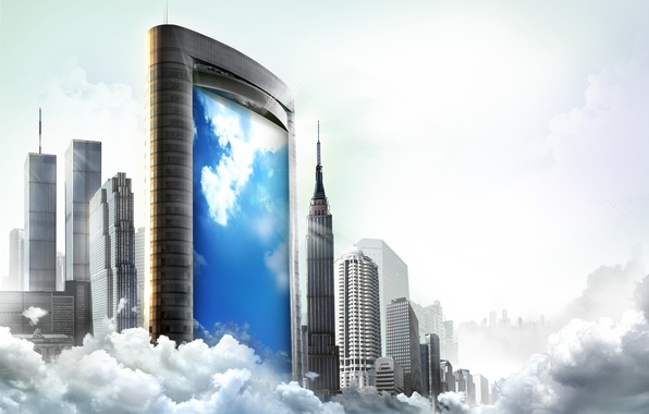Picture glass, clouds, reflection, creative, skyscrapers