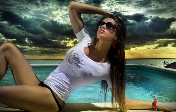 Picture hot, sexy, boobs, water, model, breasts, pose, t-shirt, sunglasses
