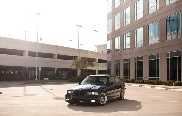 Picture black, the building, BMW, BMW, black, Blik, E36