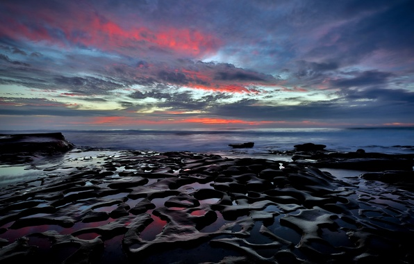 Picture beach, stones, the ocean, shore, California, San Diego, rasvet, La Jolla beach