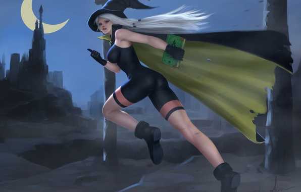 Picture ass, chest, girl, night, the moon, feet, hat, book, cloak, the witch, the sorcerer, Crescent