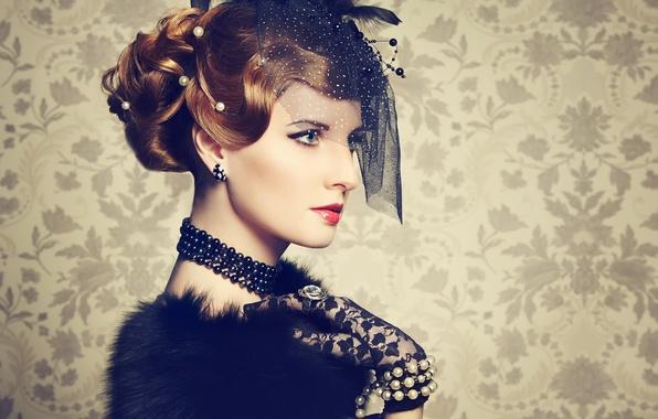 Picture retro, portrait, makeup, hat, veil, Vintage style
