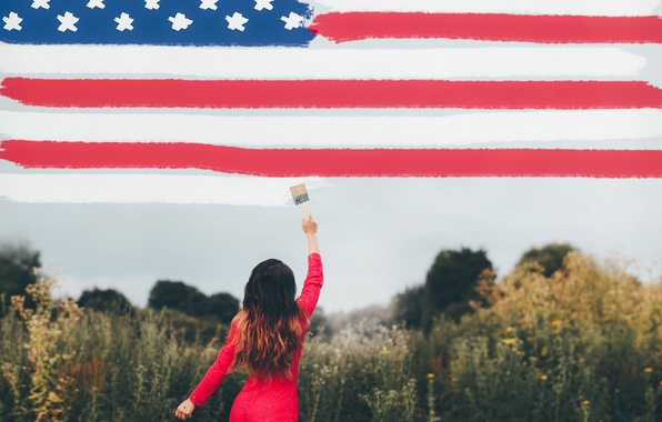 Picture girl, background, flag