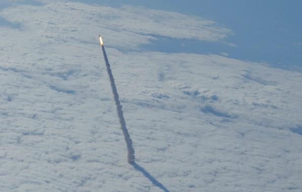Photo wallpaper start, Shuttle, space, Endeavour, Shuttle, clouds